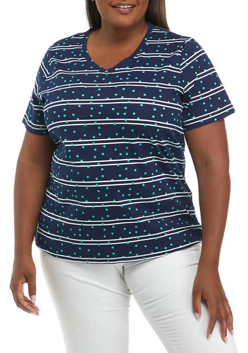 Kim Rogers® Plus Size Short Sleeve V-Neck Printed