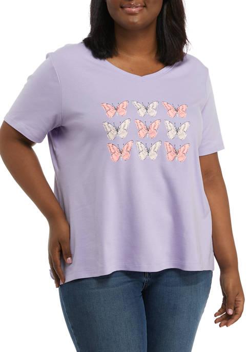 Kim Rogers® Plus Size Short Sleeve V-Neck Graphic