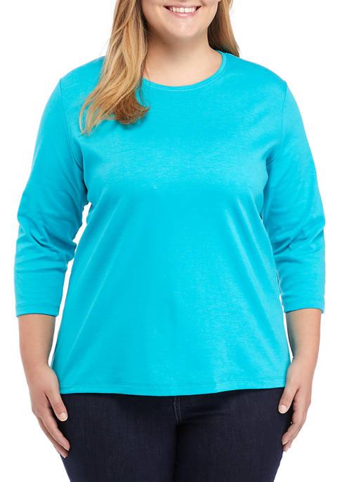 Kim Rogers® Plus Size 3/4 Sleeve Crew Neck