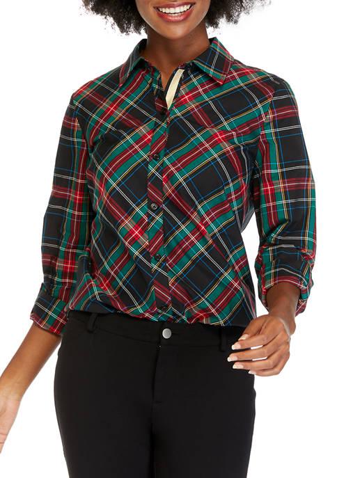 Kim Rogers® Womens Roll Tab Button Up Shirt