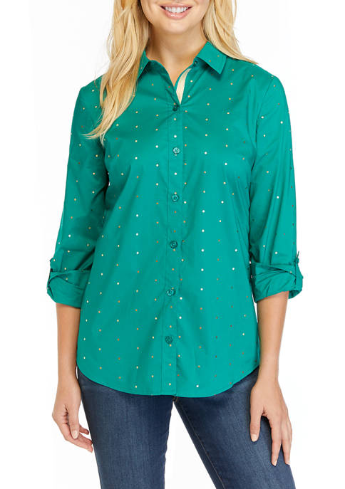 Kim Rogers® Womens Printed Roll Tab Button Up
