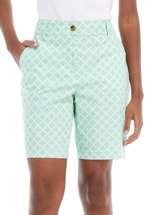 Kim Rogers® Womens 9 Inch Printed Twill Shorts