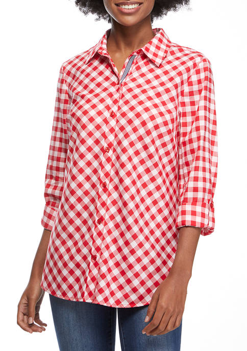 Kim Rogers® Womens Roll Tab Gingham Button Down