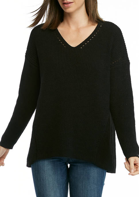 New Directions® Womens Chenille Tunic V-Neck Sweater