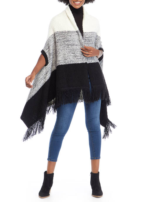 New Directions® Studio Womens Jacquard Fashion Poncho