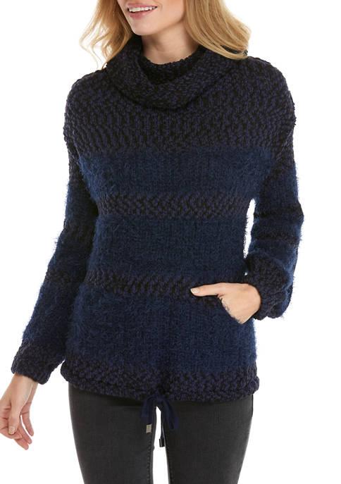 New Directions® Studio Womens Eyelash Striped Sweater