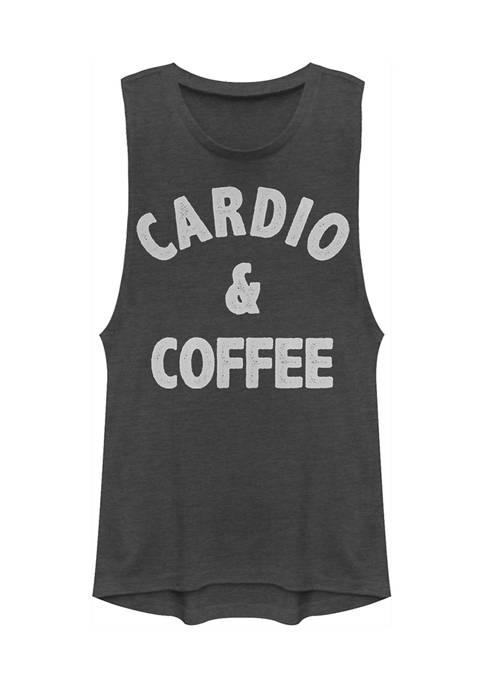 Juniors Cardio and Coffee Tank Top