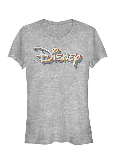 Disney Logo Juniors Licensed Disney Retro Rainbow T-Shirt