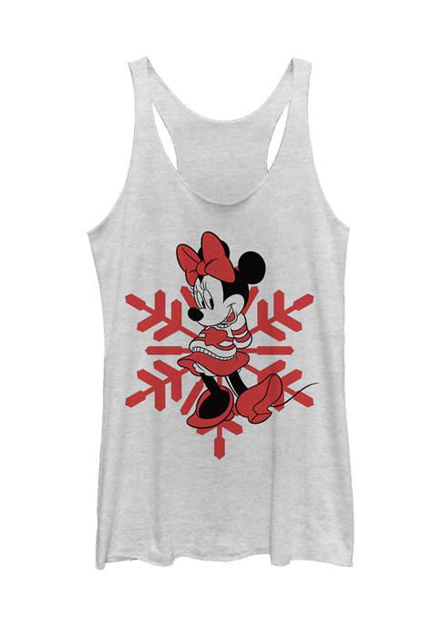 Juniors Licensed Disney Minnie Snowflake Tank Top