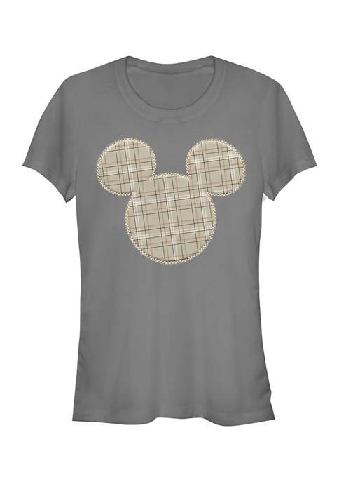 Juniors Licensed Disney Plaid Patch Mickey T-Shirt