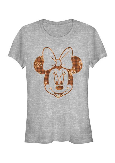 Juniors Licensed Disney Fall Floral Plaid Minnie T-Shirt