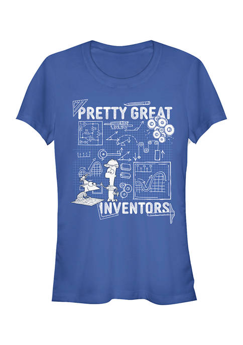 Juniors Phineas and Ferb Really Great Inventors Schematics T-Shirt