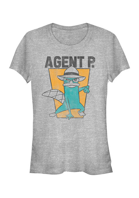 Juniors Phineas and Ferb Agent P T-Shirt