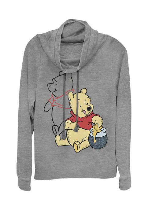 Juniors Licensed Disney Pooh Line Art Pullover Top