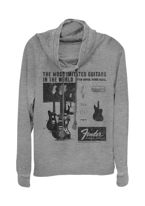 Juniors Litho Ad Pullover Graphic Top