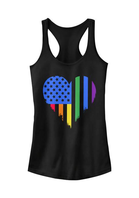 Peaceful Warrior Juniors Pride Heart Tank Top