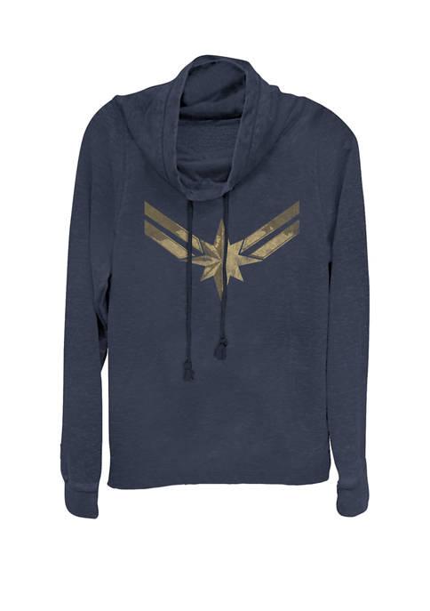 Captain Marvel™ Movie Gold Blue Logo Cowl Neck Pullover