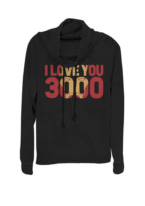 Avengers Endgame Iron Man I Love You 3000 Text Fill Cowl Neck Graphic Pullover