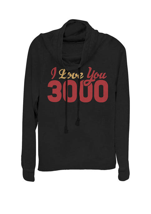 Avengers Endgame Iron Man I Love You 3000 Quote Bold Cowl Neck Graphic Pullover