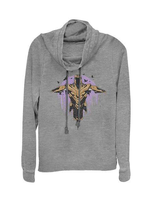 Avengers Endgame Thanos Armor Painted Fade Portrait Cowl Neck Pullover