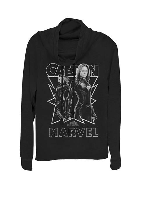 Captain Marvel™ Simple Star Portrait Cowl Neck Graphic Pullover
