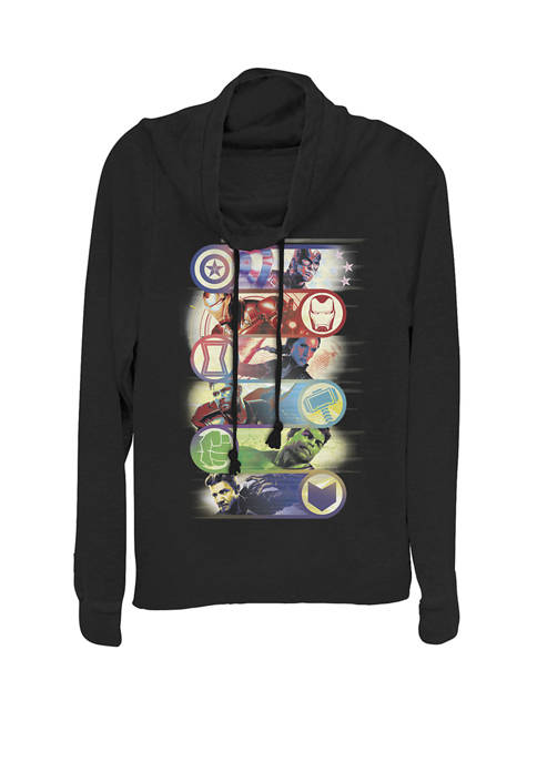 Avengers Endgame Hero Symbol Colorful Group Shot Poster Cowl Neck Graphic Pullover