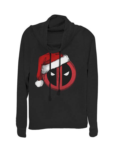 Deadpool Santa Hat Mask Logo Cowl Neck Graphic