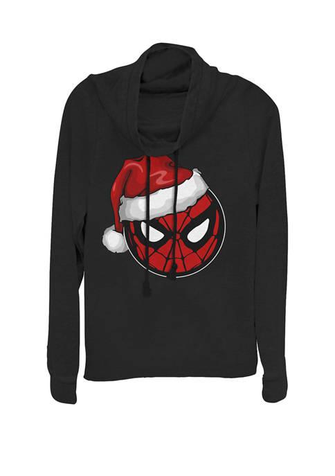 Spider-Man Santa Hat Mask Logo Cowl Neck Graphic Pullover