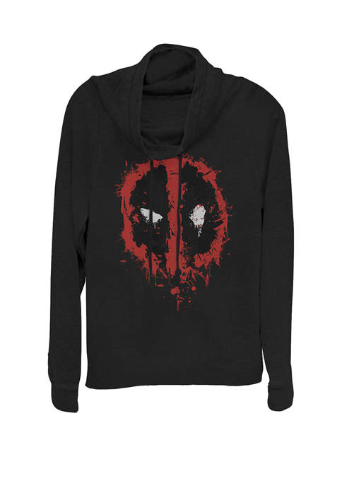 Deadpool Splatter Icon Cowl Neck Graphic Pullover