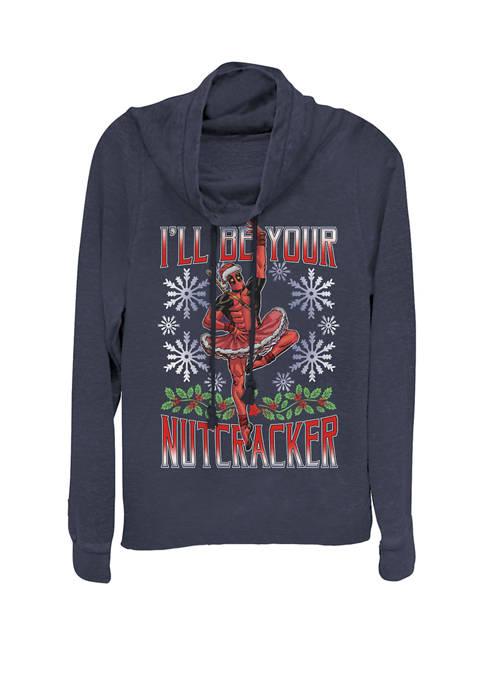 Deadpool Christmas Ballerina Ill Be Your Nutcracker Cowl Neck Graphic Pullover