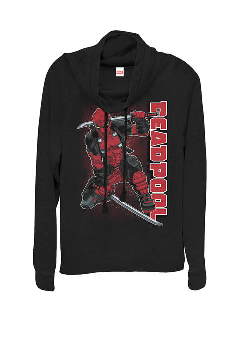 Deadpool Samuria Hero Stance Cowl Neck Graphic Pullover