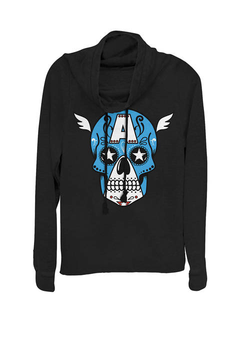 Avengers Captain America Sugar Skull Cowl Neck Graphic Pullover