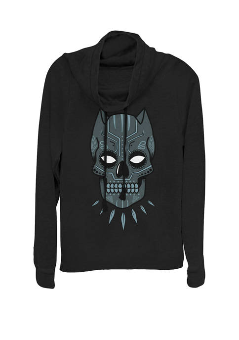 Black Panther Sugar Skull Cowl Neck Graphic Pullover