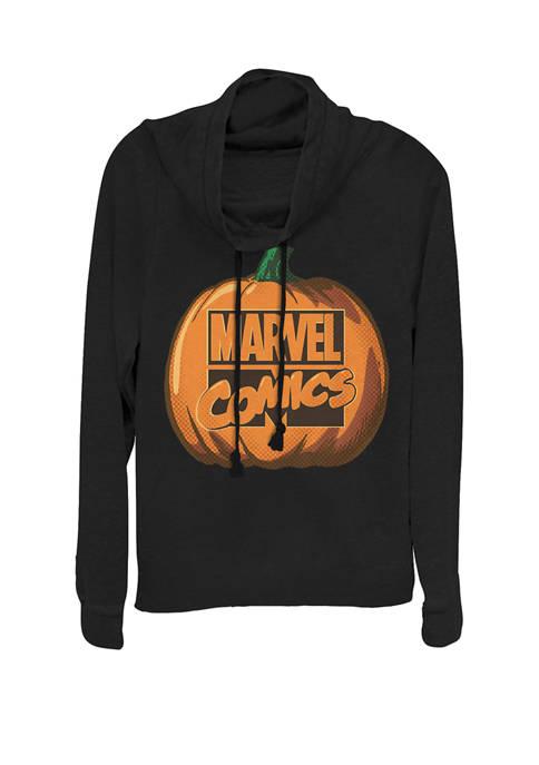 Comics Logo Halloween Pumpkin Cowl Neck Graphic Pullover