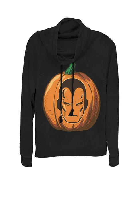Avengers Iron Man Halloween Pumpkin Cowl Neck Graphic Pullover