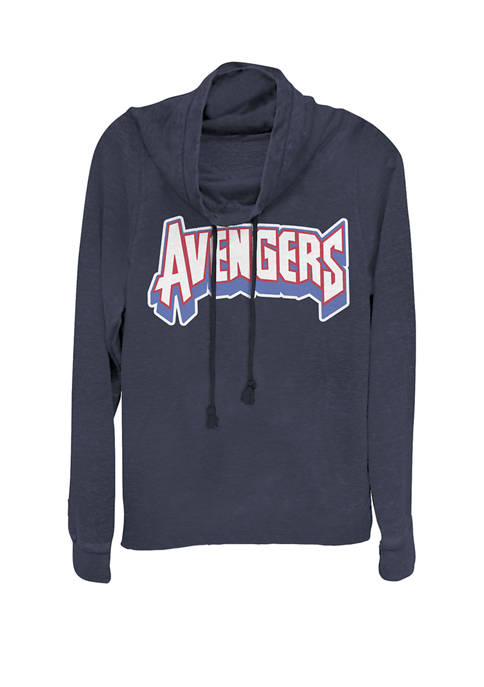 Avengers Retro Red White Blue Logo Cowl Neck Graphic Pullover