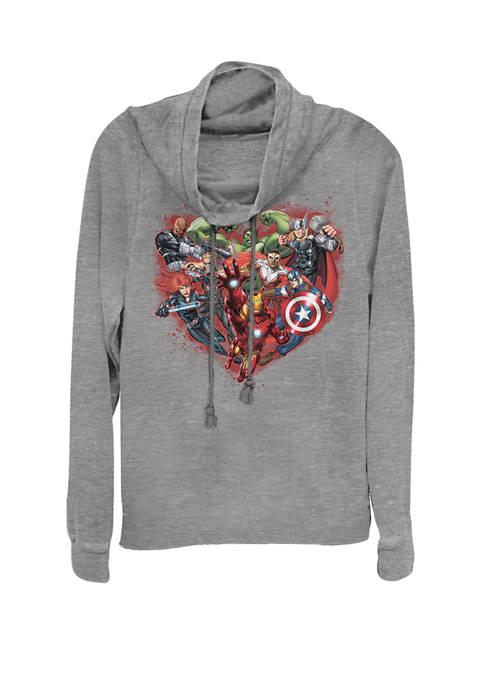 Marvel™ Avengers Heart Group Shot Valentine Cowl Neck