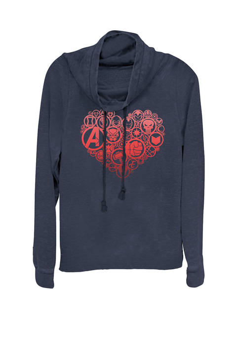 Valentines Heart Icon Build-Up Fill Cowl Neck Graphic Pullover