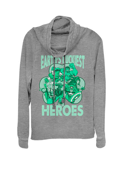 St. Patricks Day Earths Luckiest Heroes Cowl Neck Graphic Pullover