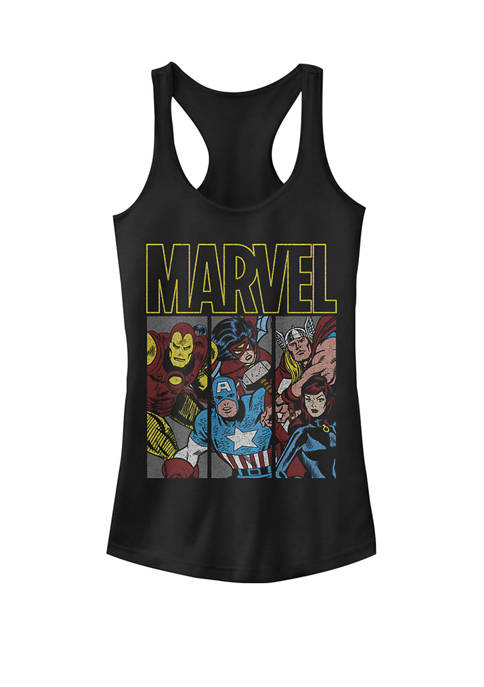 Retro Comic Avengers Panels Racerback Graphic Tank