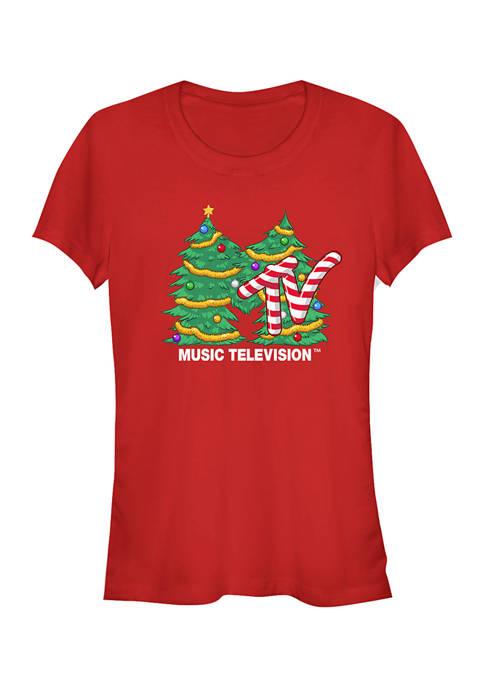 MTV Juniors Christmas Tree Graphic Top