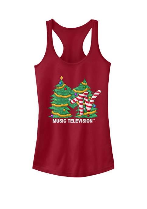 Christmas Tree Candy Cane Logo Racerback Graphic Tank