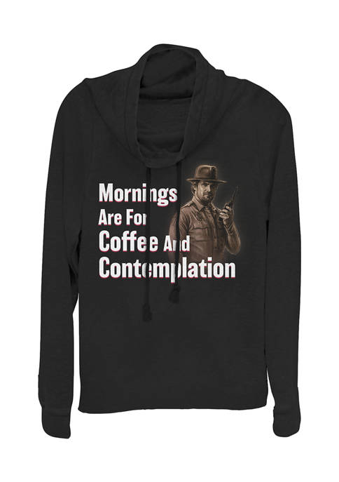 Juniors  Coffee and Contemplation Graphic Pullover Top