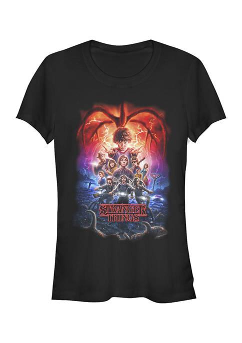 Stranger Things Juniors Group Pumpkins Poster Graphic T-Shirt
