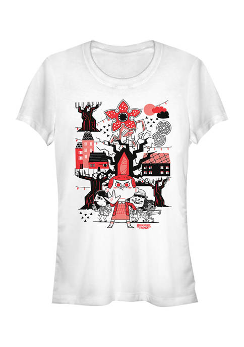 Juniors  Red Black Graphic T-Shirt