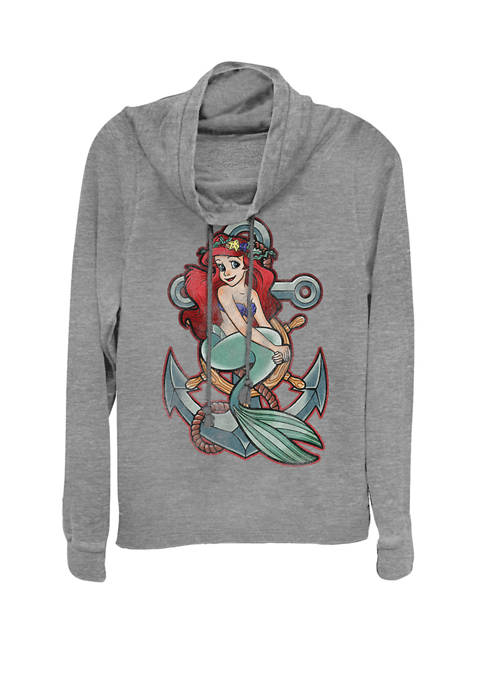 Disney® Little Mermaid Tattoo Anchor Pose Cowl Neck