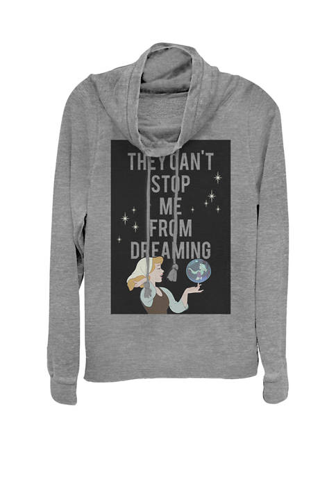 Cinderella Cant Stop Dreaming Cowl Neck Graphic Pullover