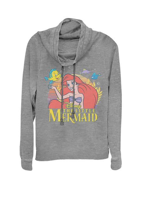 Little Mermaid Ariel Flounder Logo Cowl Neck Graphic Pullover
