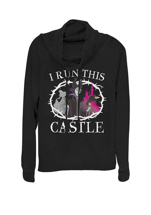 Sleeping Beauty Maleficent Runs This Castle Cowl Neck Graphic Pullover