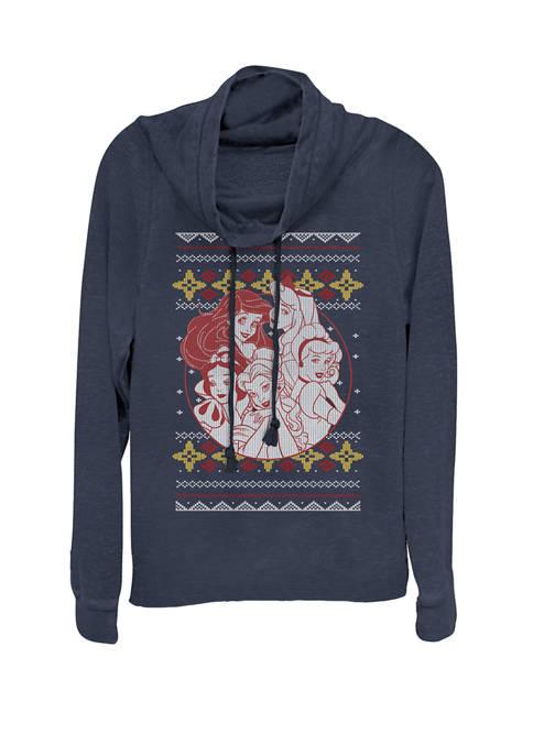 Princess Circle Group Shot Ugly Christmas Cowl Neck Graphic Pullover